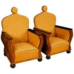 20th Century Orange Fabric Walnut Wood French Pair of Armchairs, 1950
