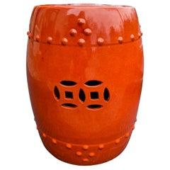 20th Century Orange Glazed Pierced Porcelain Garden Seat