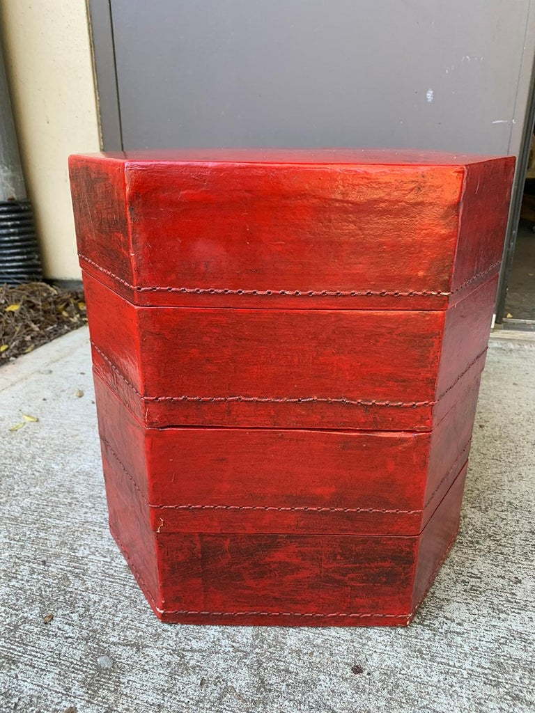 20th Century Oriental Lacquered Red Drinks Table For Sale 1