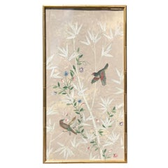 20th Century Oriental Watercolor Panel with Gilt Faux Bamboo Frame