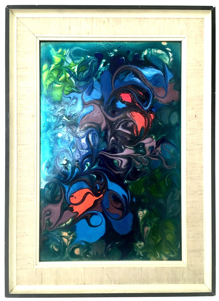 20th century European original enamel on copper modern abstract painting, signed- numbered by artist, lower right, 034.20.8238. This one of a kind abstract painting features, vibrant and both muted, neon and metallic color effects in greens, blues,
