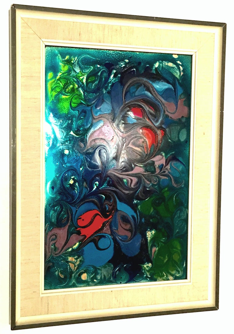 Modern 20th Century Original Enamel on Copper Abstract Painting, Signed For Sale