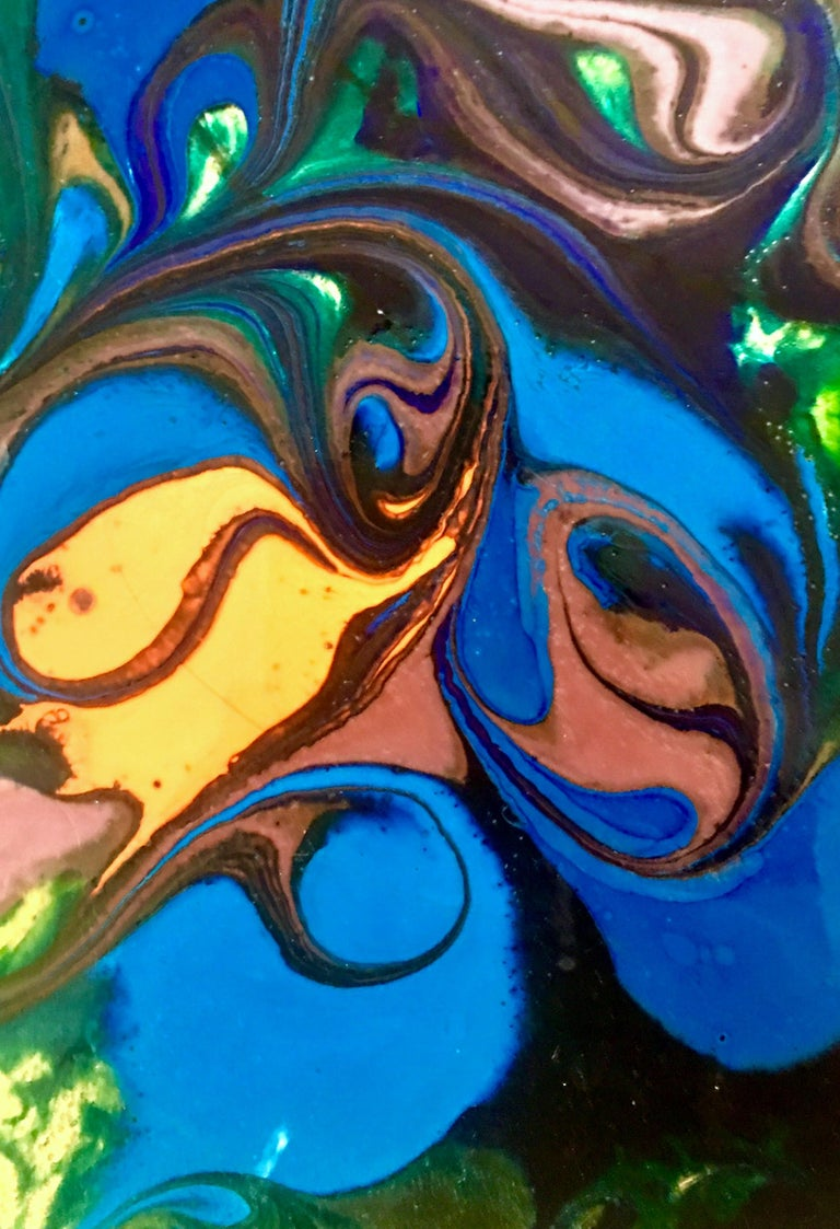 Metal 20th Century Original Enamel on Copper Abstract Painting, Signed For Sale