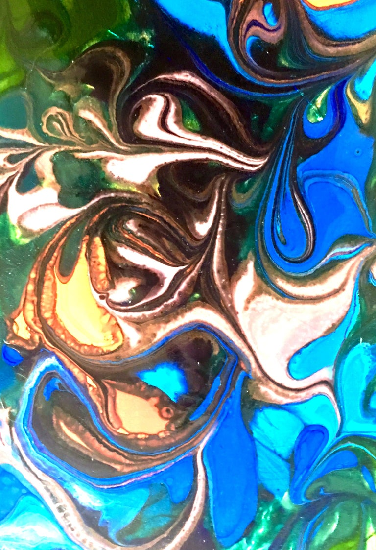 20th Century Original Enamel on Copper Abstract Painting, Signed For Sale 1