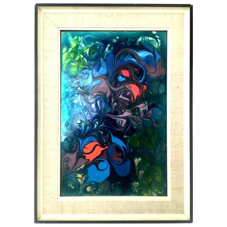 20th Century Original Enamel on Copper Abstract Painting, Signed For Sale