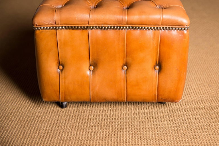 20th Century Original English Chesterfield Leather Stool For Sale 1