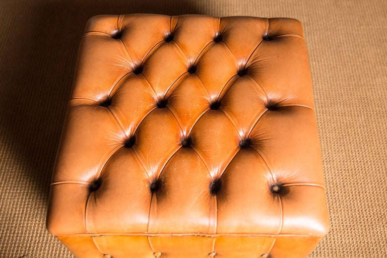 20th Century Original English Chesterfield Leather Stool For Sale 2