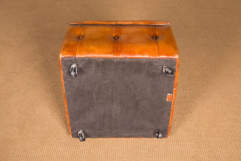 20th Century Original English Chesterfield Leather Stool For Sale 4