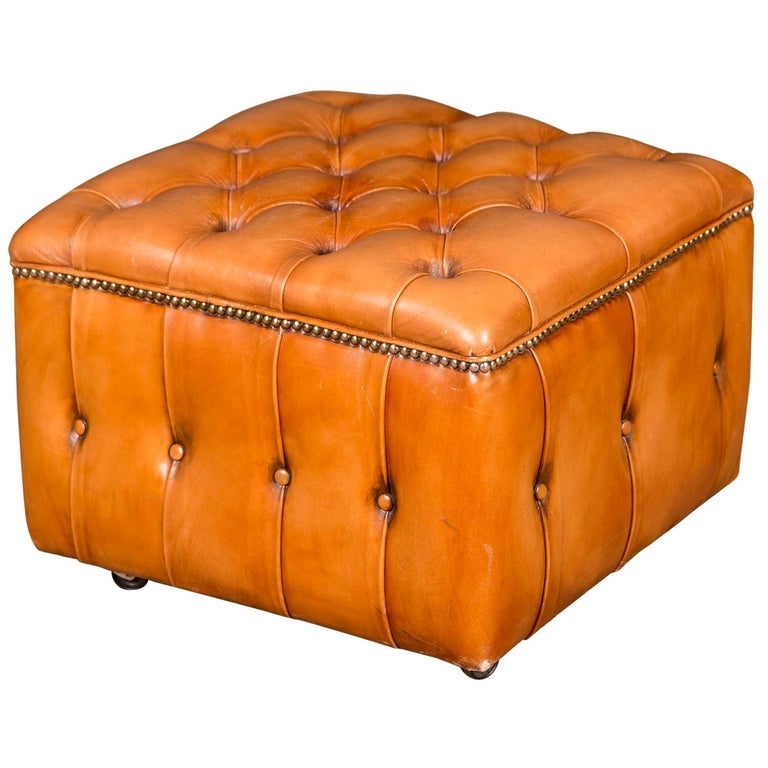 20th Century Original English Chesterfield Leather Stool For Sale