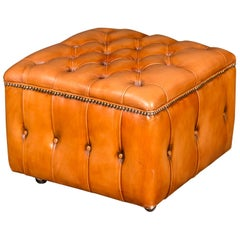 20th Century Original English Chesterfield Leather Stool