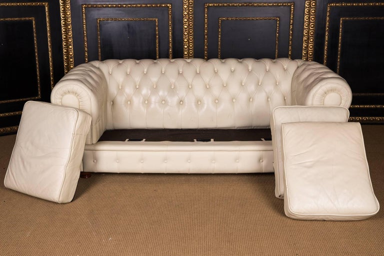 20th Century, Original English Chesterfield Sofa Genuine Leather Beige For Sale 6