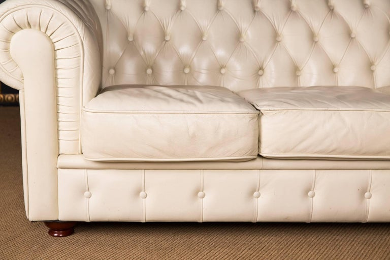 British 20th Century, Original English Chesterfield Sofa Genuine Leather Beige For Sale