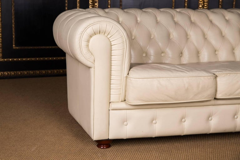 20th Century, Original English Chesterfield Sofa Genuine Leather Beige For Sale 1