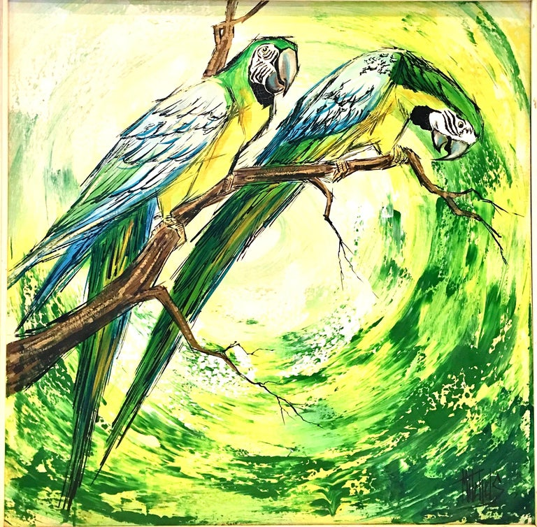 20th century original oil on canvas, bright and cheery painting by, Mitchels. Features a pair of birds perched on a branch. Finished in shades of bright green, blue, yellow, black, white and brown. The frame is dark painted wood. Artist signed lower