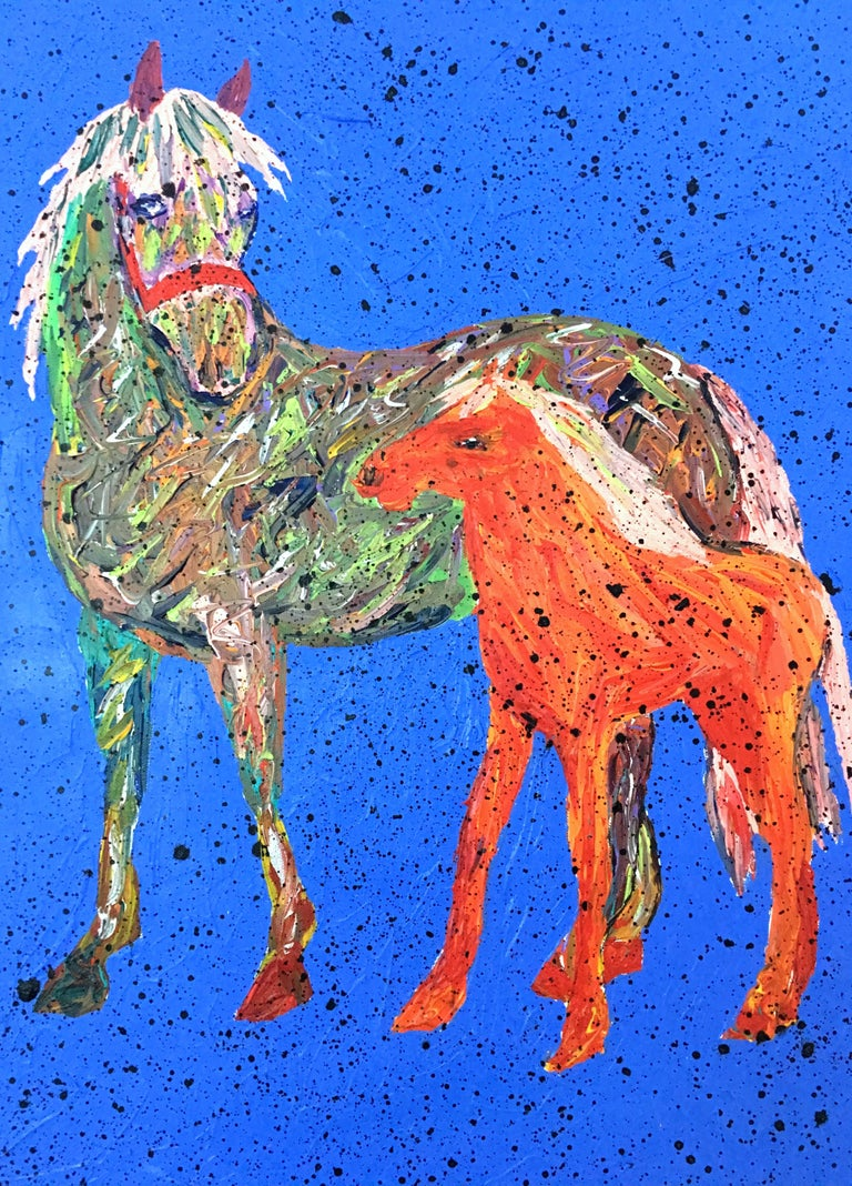 20th Century original oil on canvas painting by, Barbara Smith. Features a vivid blue ground with impasto textured technique and horse motif. Signed lower front right, Barbara Smith.