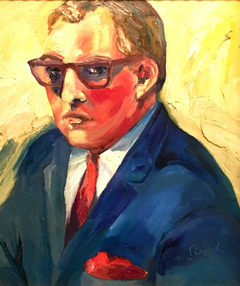 20th century original oil on canvas painting by, M. Reno. This impasto style painting features a male portrait of a man in an electric blue suit with a red tie on mostly yellow background. Signed