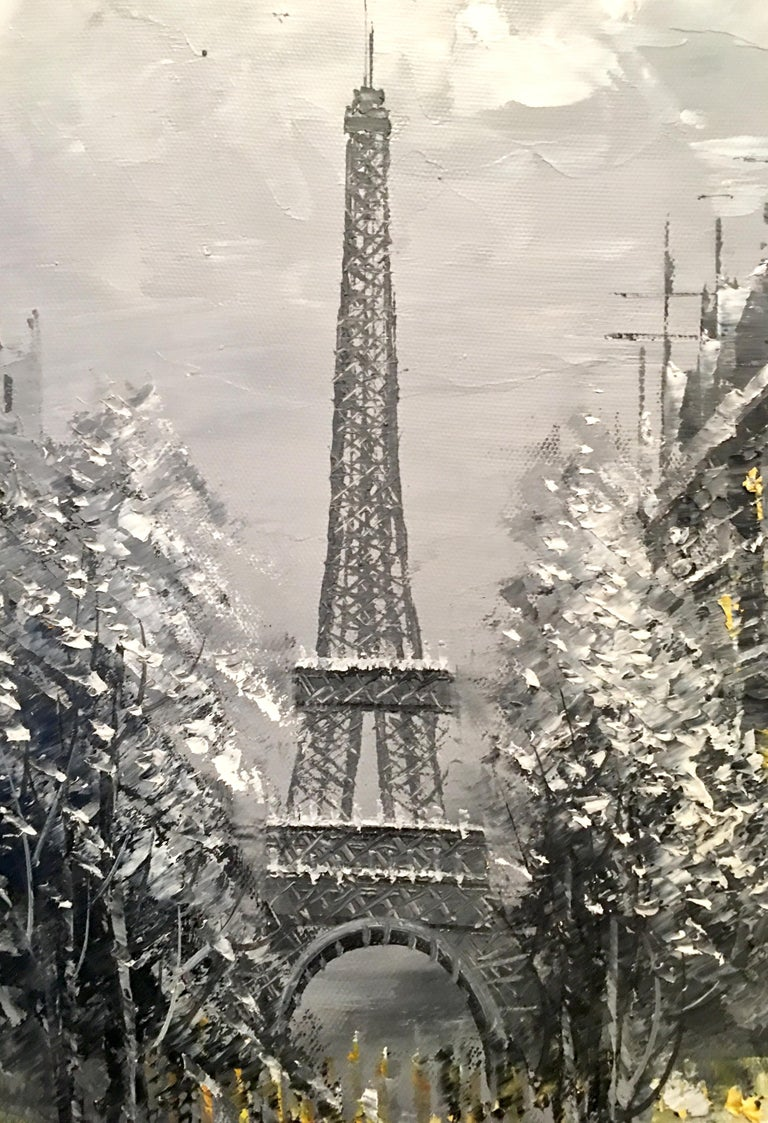 20th Century Original Oil on Canvas Painting of Paris at Night by R. Frank For Sale 6