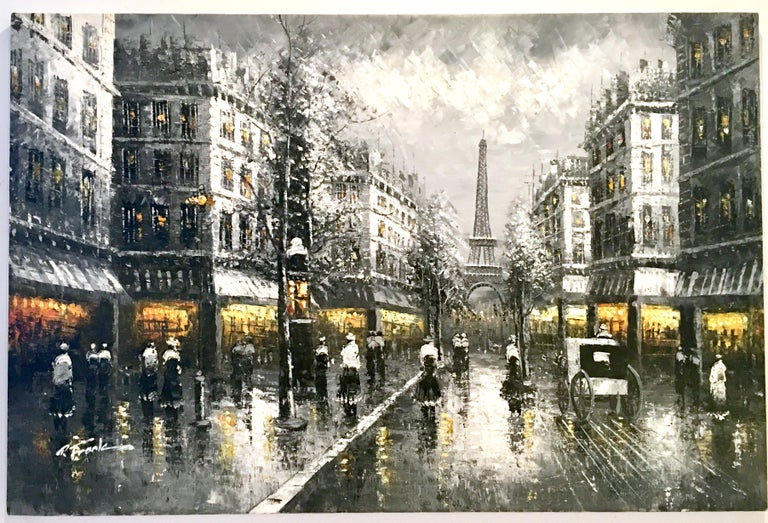 20th century impressionist original oil on canvas painting of Paris at night by, R. Frank. This large scale thirty six inch original oil on canvas impasto textured artist signed painting features Paris France at night with the Eiffel Tower as a back