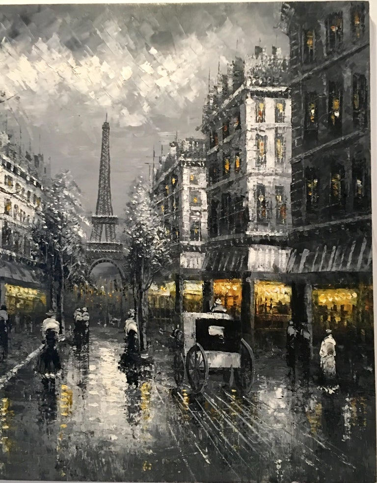French 20th Century Original Oil on Canvas Painting of Paris at Night by R. Frank For Sale