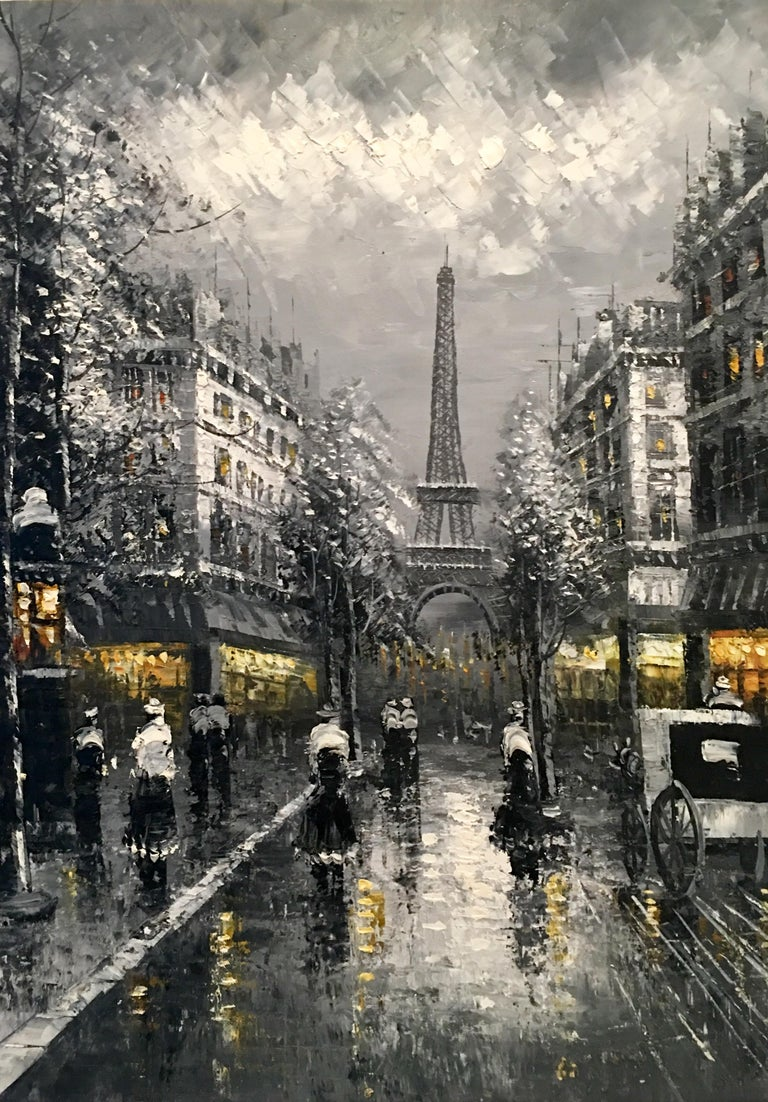 20th Century Original Oil on Canvas Painting of Paris at Night by R. Frank In Good Condition For Sale In West Palm Beach, FL
