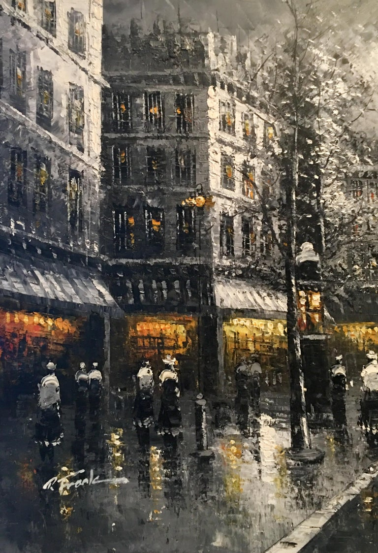 20th Century Original Oil on Canvas Painting of Paris at Night by R. Frank For Sale 1