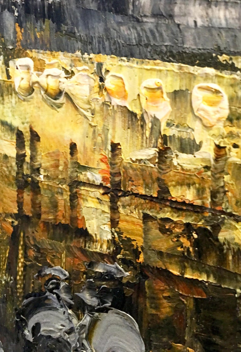 20th Century Original Oil on Canvas Painting of Paris at Night by R. Frank For Sale 3