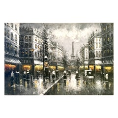 20th Century Original Oil on Canvas Painting of Paris at Night by R. Frank