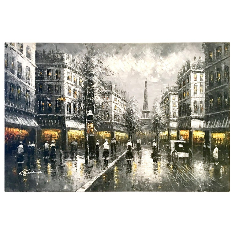 20th Century Original Oil on Canvas Painting of Paris at Night by R. Frank For Sale