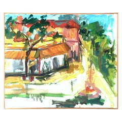 """20th Century Original Oil On Canvas Painting """"Plaza"""" By, L. Falcon Reimholz"""
