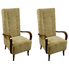 20th Century Osvaldo Borsani attributed Pair of Armchairs in Wood and Fabric