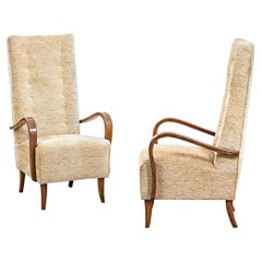 20th Century Osvaldo Borsani Attributed Pair of Armchairs in Wood and Fabric