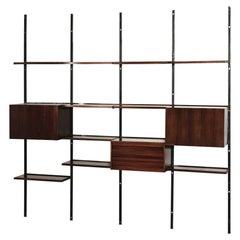 Osvaldo Borsani 'E22' Freestanding Modular Bookcase in Rosewood Tecno Production