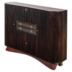 20th Century Osvaldo Borsani Large Cabinet in Dark Wood and Brass Handles '40s