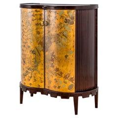 20th Century Osvaldo Borsani Luminous Bar Cabinet in Wood and painted Wood