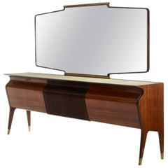 Osvaldo Borsani Rosewood Buffet with Large Mirror Borsani Arredamento Production