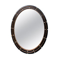 20th Century Oval Black and Gilded Teares of Ireland Mirror