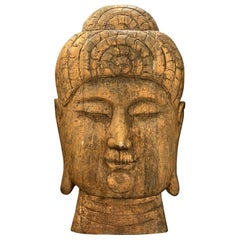20th Century Oversized Wood Buddha Head