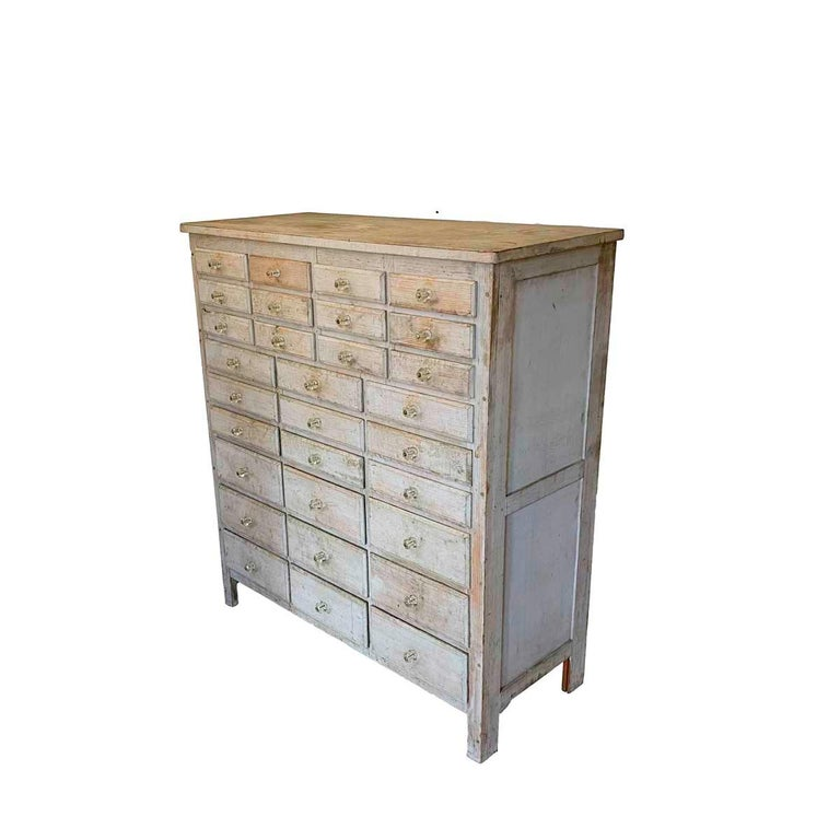 Folk Art 20th Century Painted 30 Drawer Apothecary or Country Store Cabinet