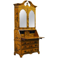 20th Century Painted and Gilt Chinoiserie Decorated Two-Part Secretary Desk