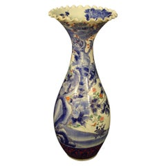 20th Century Painted and Glazed Ceramic Japanese Oriental Vase, 1920