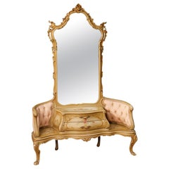 20th Century Painted and Lacquered Wood Venetian Cheval Mirror, 1950