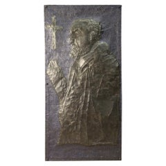 20th Century Painted Chiselled Metal Italian Signed High Relief Sculpture, 2002