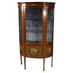 20th Century Painted Mahogany and Maple Wood English Demilune Display Cabinet