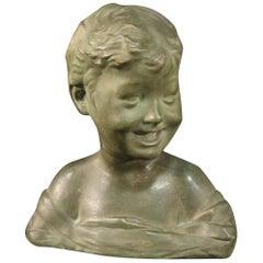 20th Century Painted Terracotta Italian Child Bust Sculpture, 1920