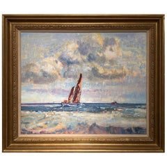 "20th Century Painting ""Sailing Barge, Yarmouth Roads Geoffrey Chatten circa 1950"
