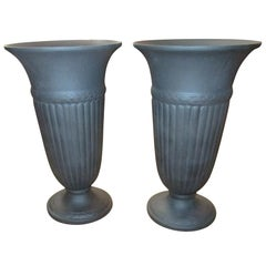 20th century Pair Black Basalt Edme Wedgwood Vases