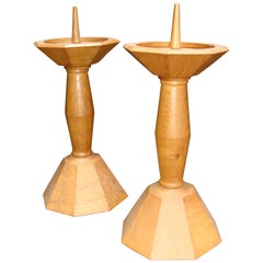 20th Century Pair of Italian Deco Wooden Candlesticks