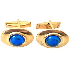 20th Century Pair Of 14K Gold Filled & Sapphire Blue Molded Art Glass Cufflinks