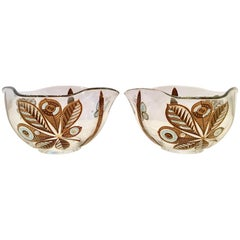 20th Century Pair of 22-Karat Gold Glass Butterfly Bowls by Georges Briard