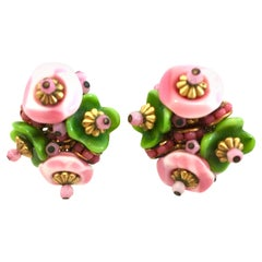 20th Century Pair Of Alice Caviness Abstract Flower Earrings-Signed